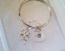 Initial Keychain with Silver 4 Leaf Clover Charm. St. Patrick's Day Gift - Gifts for Him - Gifts for Her - No Coupons Please