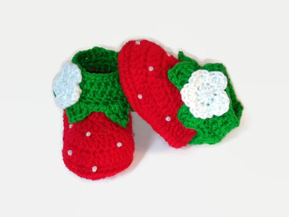 Baby Boots Crochet Baby Booties Strawberry Baby by ...