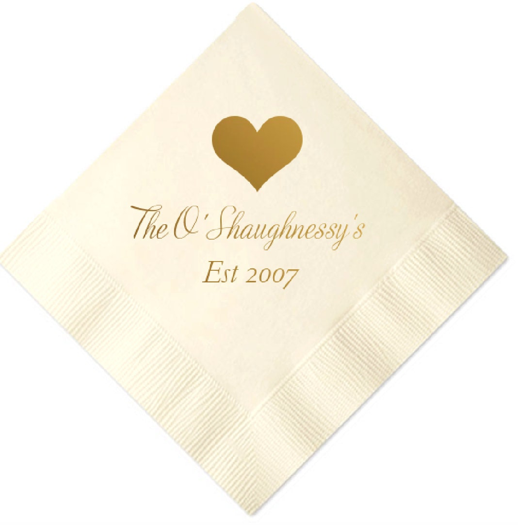 Personalized wedding napkins for Printed wedding napkins