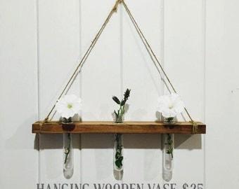 Hanging Wooden Vases