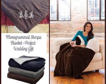 Monogrammed Blanket, Personalized Blanket, Monogrammed Sherpa Blanket, Personalized Sherpa Blanket,Monogrammed Wedding gift, New Colors!
