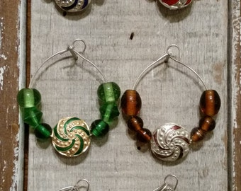 Wine Glass Charms, Colored Glass Wine Glass charms