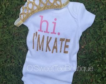 Hi I'M.../Arrival Onesie/ Announcement/ Name Onesie/ Infant/ Newborn Onesie/ Baby Girl/ Pink/ Headwrap/ Baby Name Onesie/ Hello I'm New Here