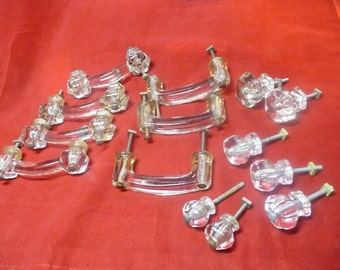 7 Antique Glass Cabinet Handles 4 Cabinet Pulls 3 Long Drawer pulls