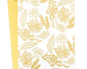 Golden Succulents, Succulents Card, Gold Foil, Plants,