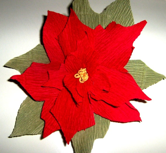 Wall decor crepe paper : Crepe paper great poinsettia red white by babyshowerflowers