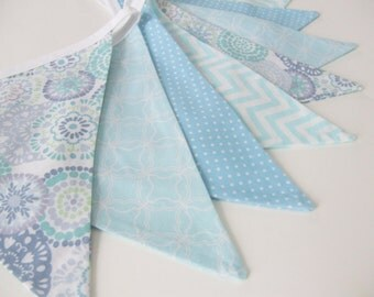 Lavender and Blue Bunting, Sale Bunting, Nursery Decor, Baby Blue, Fabric Bunting, Baby Bunting, Party Decor, Nessa Foye