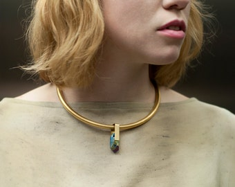 iridescent collar necklace - brass collar chocker - statement necklace- metal chocker