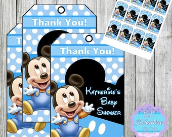 Baby MiCKEY Mouse Thank you Tags, Favor Tags PERSONALIZED DIY PRINTABLE