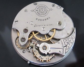 c.1887 Antique Watch Movement, Waltham Royal Pocket Watch movement with dial and hands, (#Walt06)