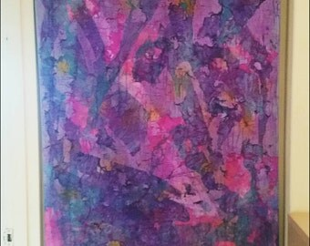 "LARGE 47x35 canvas wall hanging home decor - ""Purple Crying"" - Original Abstract Acrylic Textured painting, wall hanging"