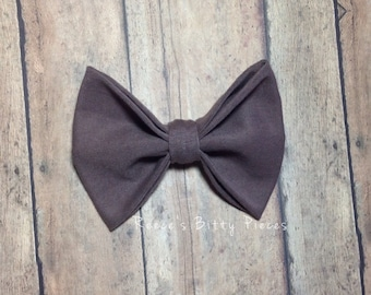 Fabric Hair Bow || Cocoa Brown Bow || Clip or Headband