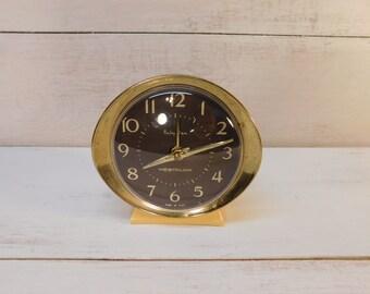 Vintage Westclox Baby Ben Wind Up Alarm Clock, Photo Prop, Hollywood Regency