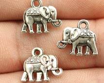 5 pcs Elephant Charms - Pandora bracelet charm - Cute Charms - Jewelry supply- Antique silver