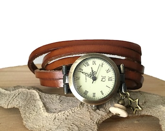 watch brown leather bronze bird charm