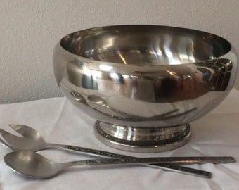 Vintage Oneida Stainless Steel 18/8 Salad Bowl Set