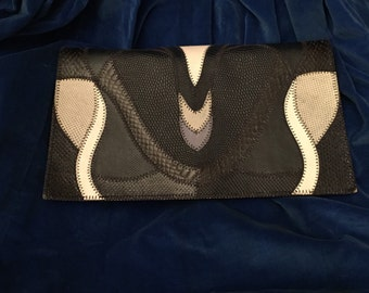 Furst and Mooney Navy Genuine Leather Clutch