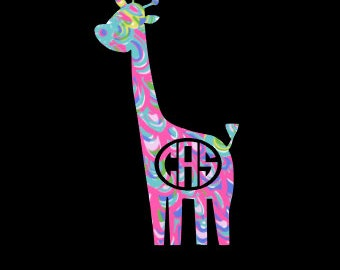 Giraffe Decal with Monogram in your choice of Fun Preppy Prints!  Perfect for the Giraffe Lover! Car Windows ~ Tumblers ~ Nursery Decor!