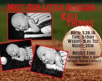 Our Little Slugger birth announcement