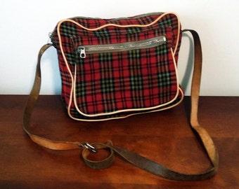 Vintage plaid bag/purse with leather strap
