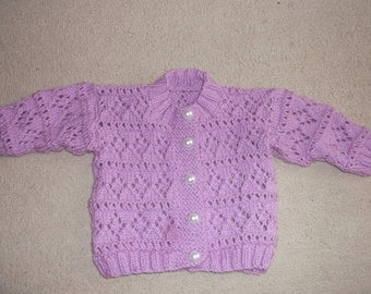 lilac baby cardigan this item can be made in the colour and size of your choice