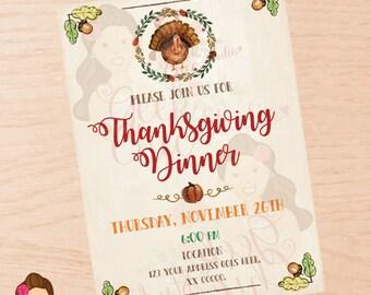 Thanksgiving, Thanksgiving invitation, Thanksgiving invite, Thanksgiving dinner invite, Thanksgiving party, Thanksgiving dinner invitation.