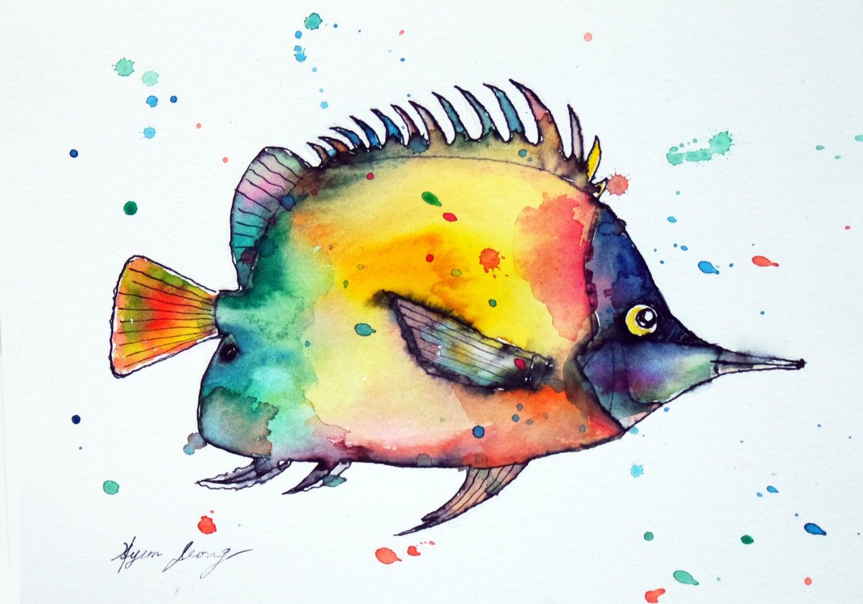 Tropical Fish watercolor Painting 57 Original Sea