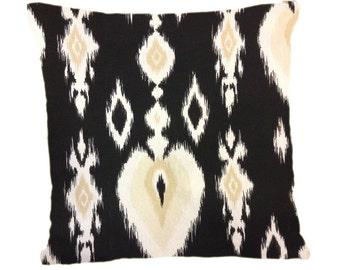 Black and Tan Ikat Pillow Cover, Throw Pillow, Decorative Pillow