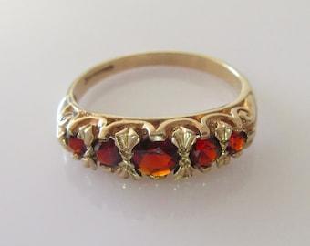 9ct Gold Garnet Half Band Ring Size UK O 1/2 USA 7 1/4