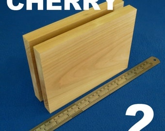 "LOT x 2 RECTANGLES 6"" x 8"" inch / ~ 150 mm x 200 mm wooden blocks bundle set CHERRY wood natural bricks"