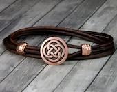 Copper Celtic Knot Red Leather Bracelet - Leather Wrap Bracelet - Mens Leather Bracelet - Womens Leather Bracelet - Fathers Day