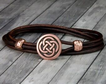 Copper Celtic Knot Red Leather Bracelet - Leather Wrap Bracelet - Mens Leather Bracelet - Womens Leather Bracelet - Celtic Jewelry - Celtic