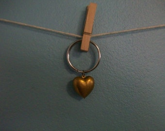 Antique gold puffy heart charm keychain