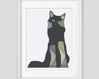 Cat cross stitch pattern, modern cross stitch pattern, cat counted cross stitch pattern, cat pdf pattern cross stitch