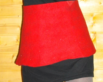 Red felted short skirt