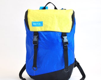 Discover Pack -Reuse Recycle Sails Blue Neon Urban Backpack, Desing Stilish, Outdoors, Water resistant, Made in USA, Unique, One of a Kind