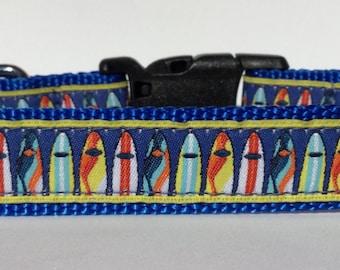 Surfboards Dog Collar, Adjustable Dog Collar, Ribbon Dog Collar