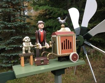 "Wood Whirligig ""Organ Grinder with a Dog"