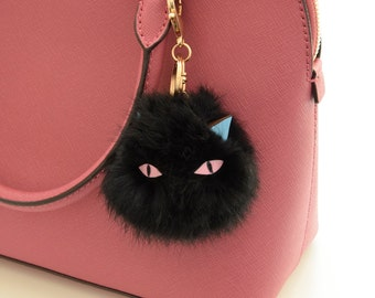 Black Cat Rabbit Fur Pom-Pom Key Chain / Bag Charm