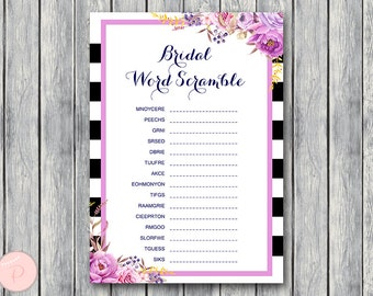 Bridal Word Scramble Bridal Shower Game, Bridal shower game, Bridal shower activity, Printable Game WD79 TH34