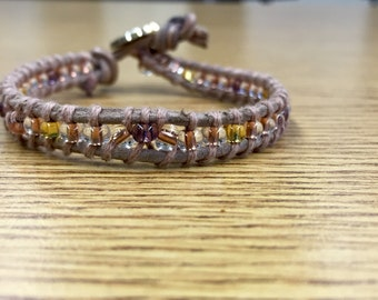 Beaded leather cord bracelet