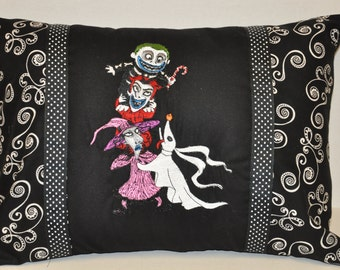 """Rare!  12"""" x 16"""" Nightmare Before Christmas Lock, Shock & Barrel Embroidered Home Halloween Decorative  Pillow"""