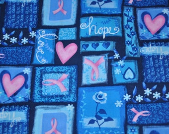 1/2  Yard of Breast Cancer Awareness Pink Ribbon Cotton Quilt Fabric