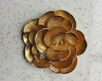 Boucher Goldtone Rose Flower Pin Brooch