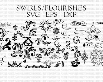 Swirls Flourishes Swoosh svg eps pdf instant download silhouette cameo Cricut Design Space Fonts and other cutters svg font