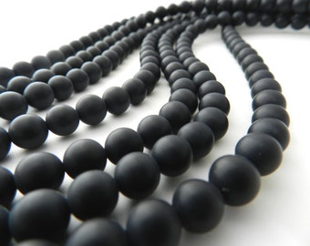 Black Onyx, Matte Black Onyx, 8mm Bead, Matte Black Beads, Matte Black, Matte Beads, Frosted Beads, 8mm Black Bead, Beads for Jewelry Making