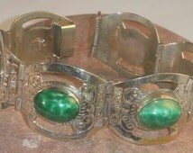 Mexico Taxco Sterling Panel Link Bracelet Green Stones