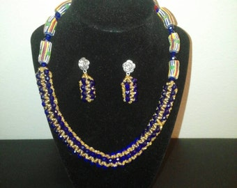 Royal blue and gold beads necklace and earrings