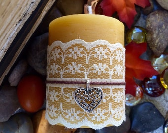 "100% Pure Beeswax pillar candle wrapped in lace w/heart charm on hemp cord-2""x 3""beeswax candle-natural candle"