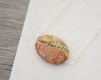 Picasso Jasper Necklace • Sterling Silver Earthy Gemstone Necklace • One of a Kind • UK Seller